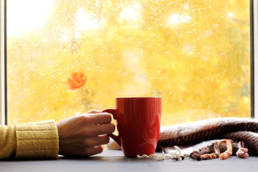 red mug of hot drink, when behind a window is rain in autumn in Washington, PA